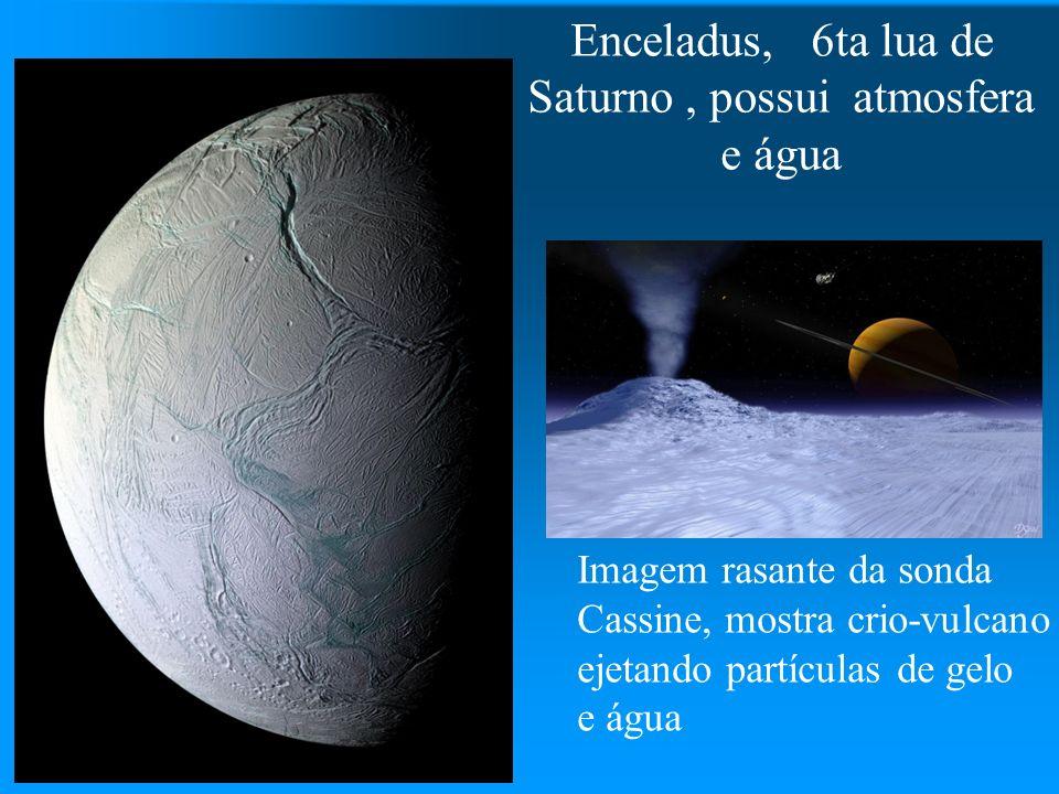 Enceladus, 6ta lua de Saturno , possui atmosfera e água