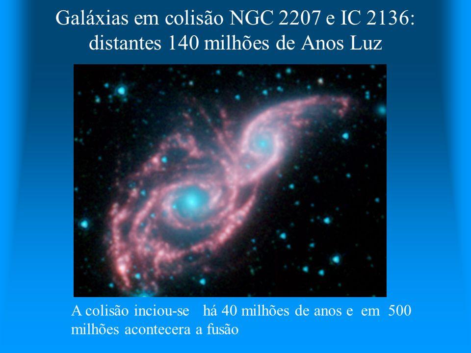 Galáxias em colisão NGC 2207 e IC 2136: distantes 140 milhões de Anos Luz