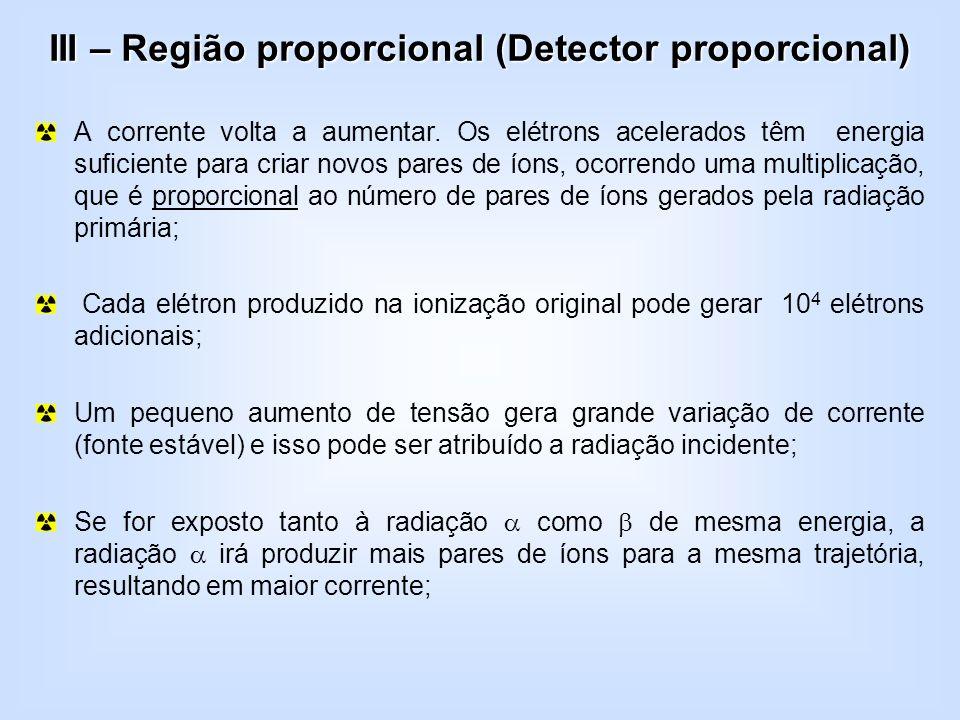 III – Região proporcional (Detector proporcional)