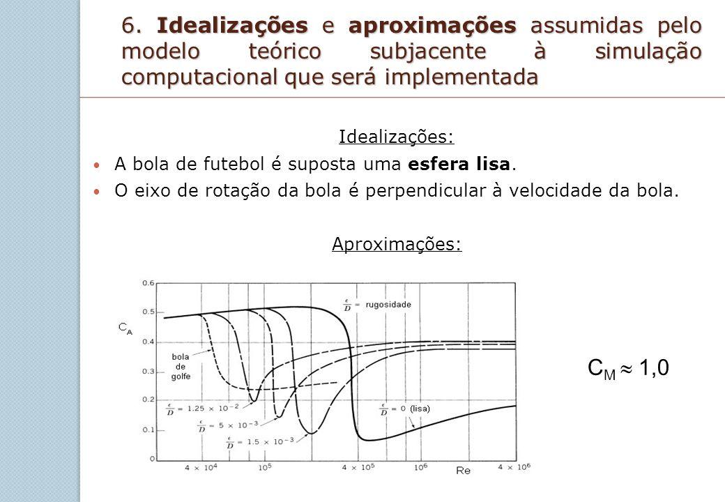 6. Idealizações e aproximações assumidas pelo modelo teórico subjacente à simulação computacional que será implementada