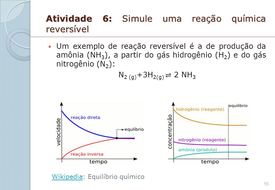 Atividade 6: Simule uma reação química reversível
