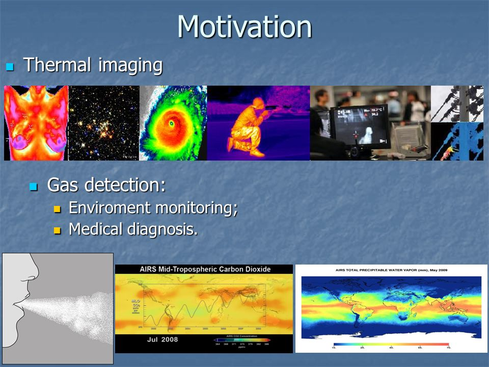 Motivation Thermal imaging Gas detection: Enviroment monitoring;