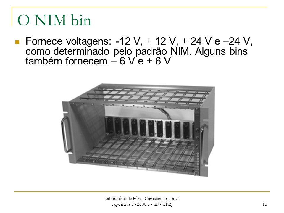 O NIM bin Fornece voltagens: -12 V, + 12 V, + 24 V e –24 V, como determinado pelo padrão NIM. Alguns bins também fornecem – 6 V e + 6 V.