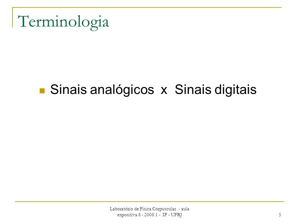 Terminologia Sinais analógicos x Sinais digitais