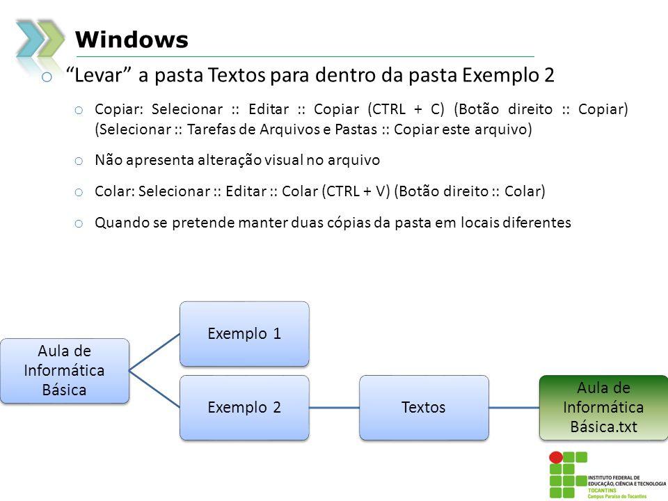 Levar a pasta Textos para dentro da pasta Exemplo 2