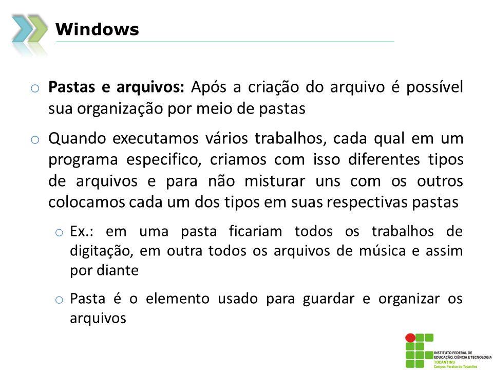 Windows Pastas e arquivos: Após a criação do arquivo é possível sua organização por meio de pastas.