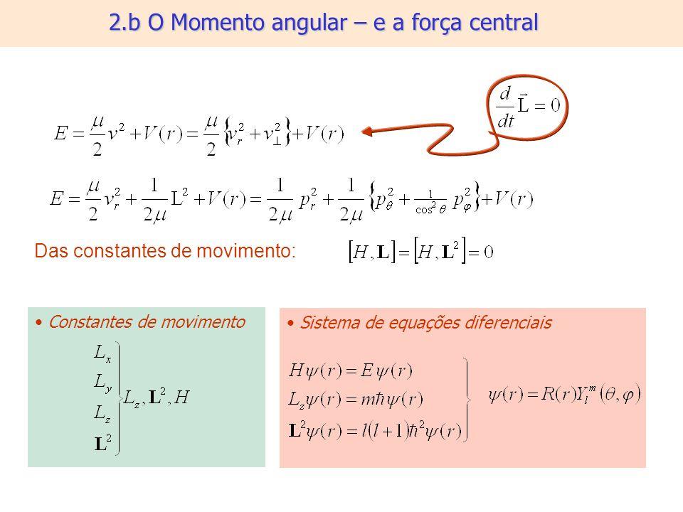 2.b O Momento angular – e a força central