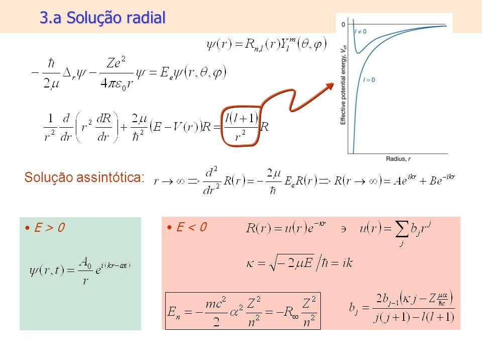 3.a Solução radial Solução assintótica: E > 0 E < 0