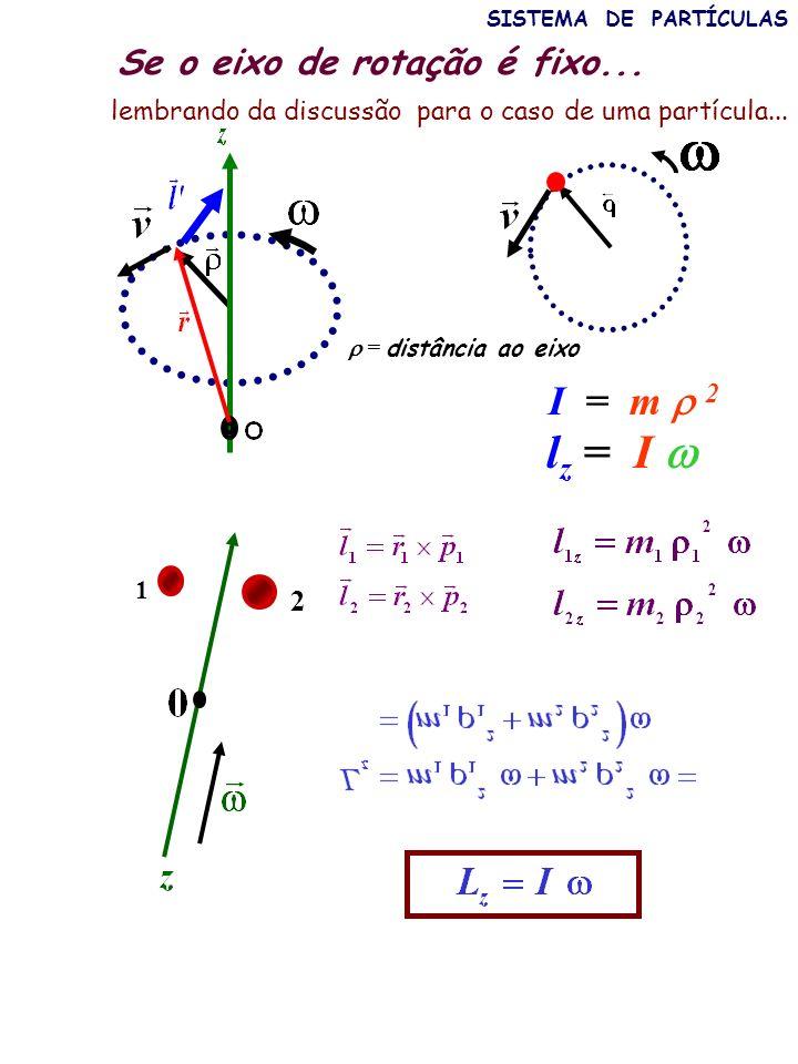lz = I  I = m  2 Se o eixo de rotação é fixo... 2