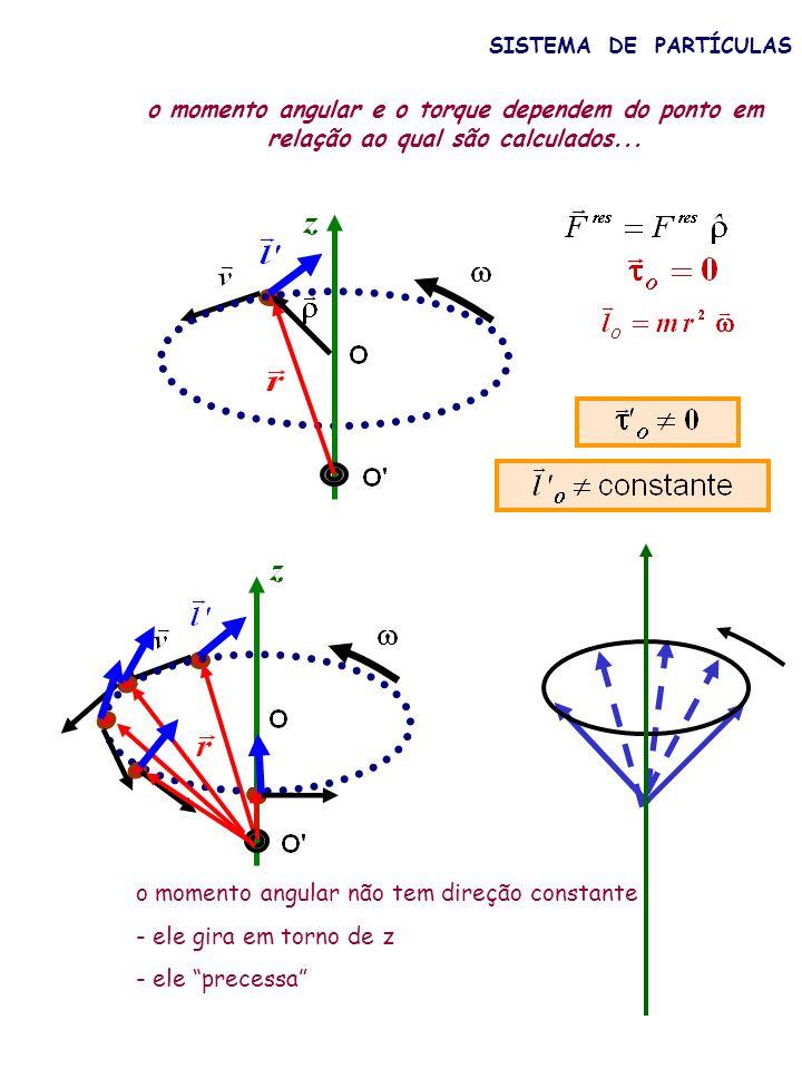 o momento angular não tem direção constante - ele gira em torno de z