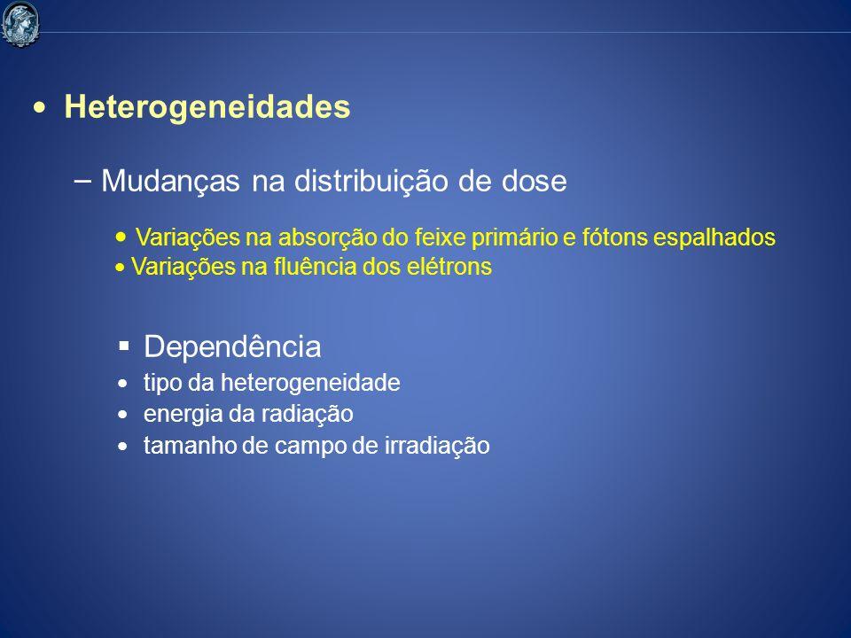 Heterogeneidades Mudanças na distribuição de dose Dependência