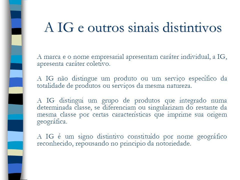 A IG e outros sinais distintivos