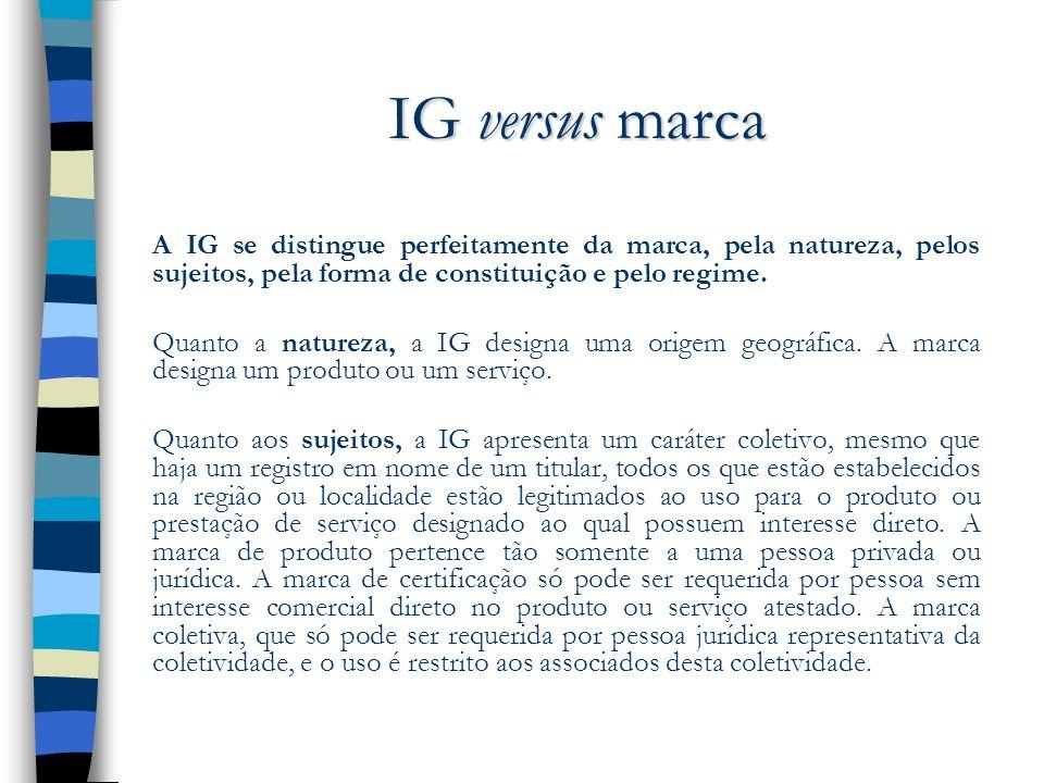 IG versus marcaA IG se distingue perfeitamente da marca, pela natureza, pelos sujeitos, pela forma de constituição e pelo regime.