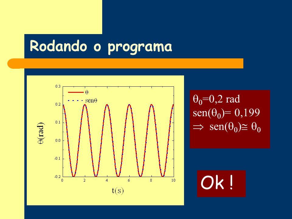 Rodando o programa 0=0,2 rad sen(0)= 0,199  sen(0) 0 Ok !