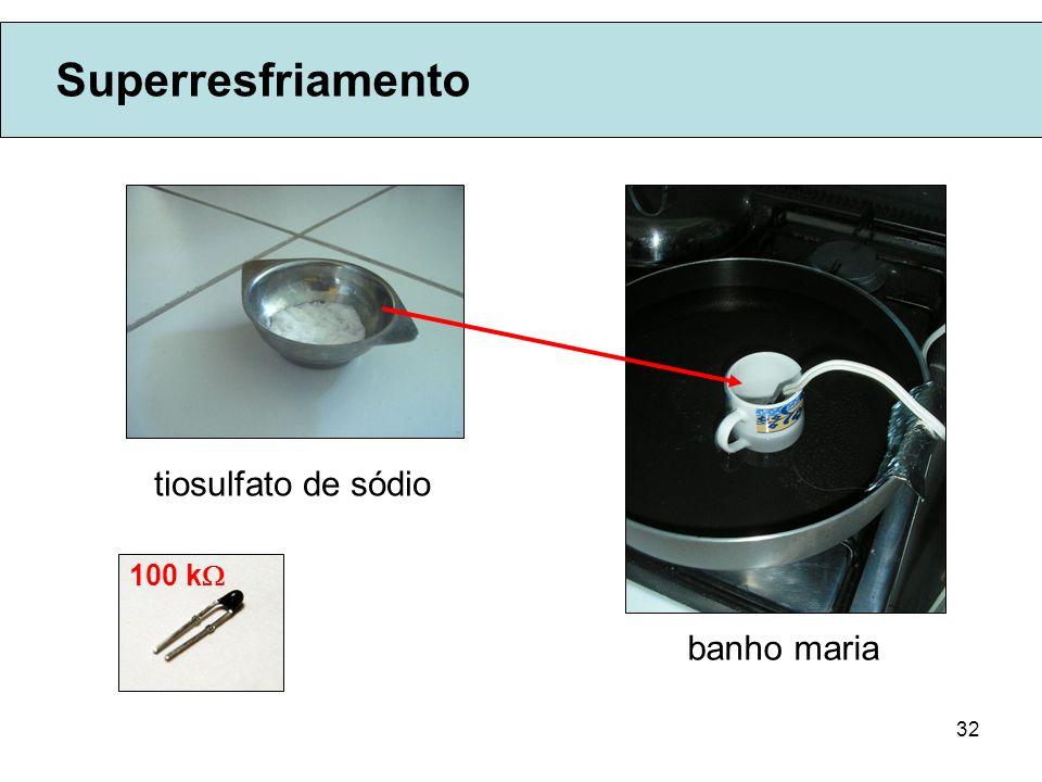 Superresfriamento tiosulfato de sódio 100 k banho maria