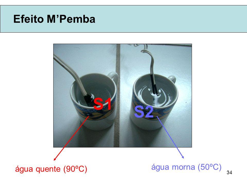 Efeito M'Pemba S1 S2 água morna (50ºC) água quente (90ºC)