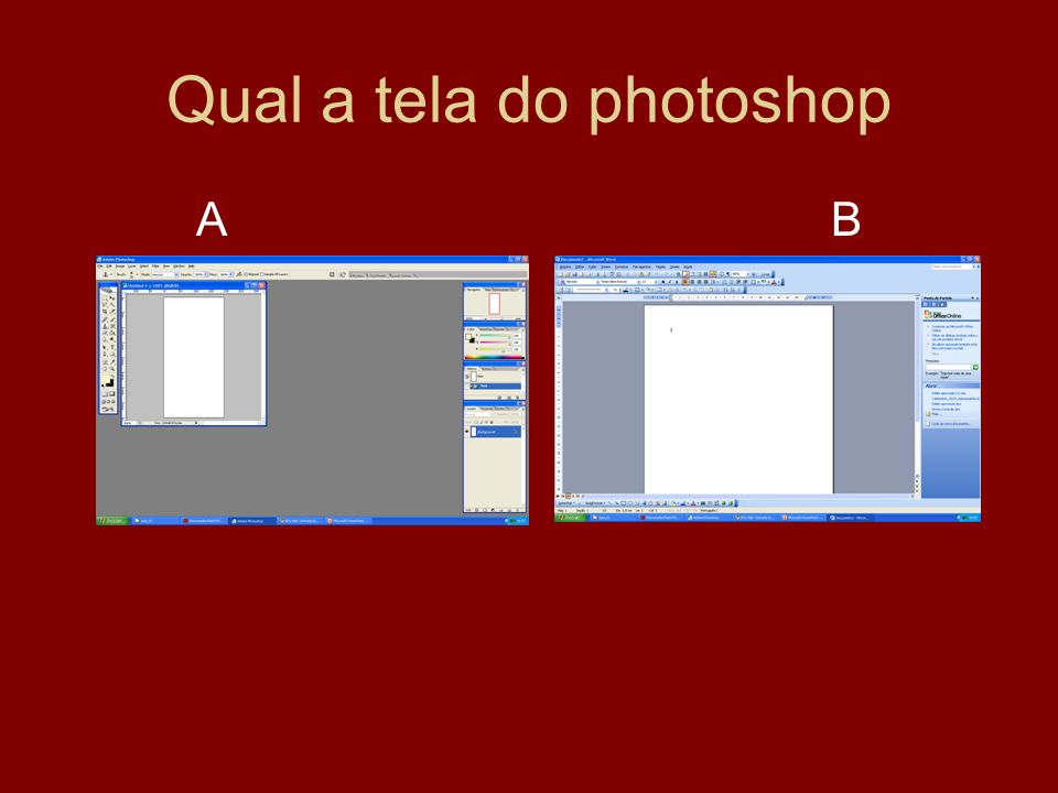Qual a tela do photoshop