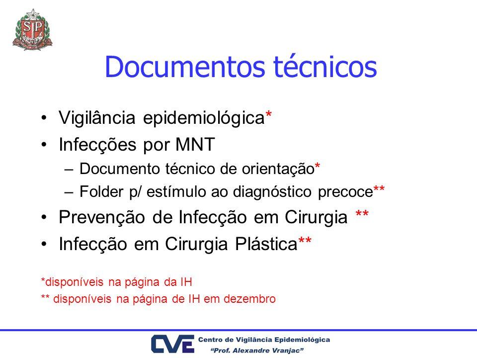 Documentos técnicos Vigilância epidemiológica* Infecções por MNT