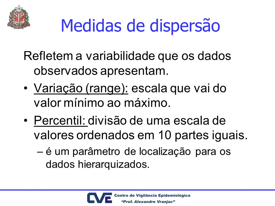 Medidas de dispersão Refletem a variabilidade que os dados observados apresentam. Variação (range): escala que vai do valor mínimo ao máximo.