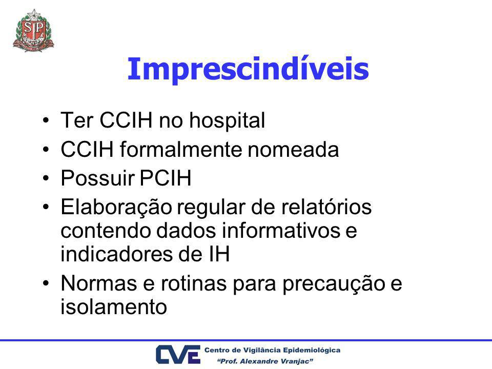 Imprescindíveis Ter CCIH no hospital CCIH formalmente nomeada