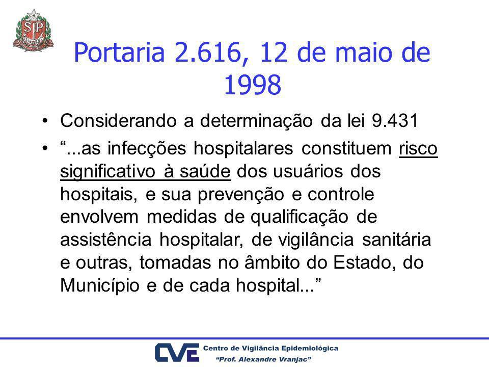 Portaria 2.616, 12 de maio de 1998Considerando a determinação da lei 9.431.