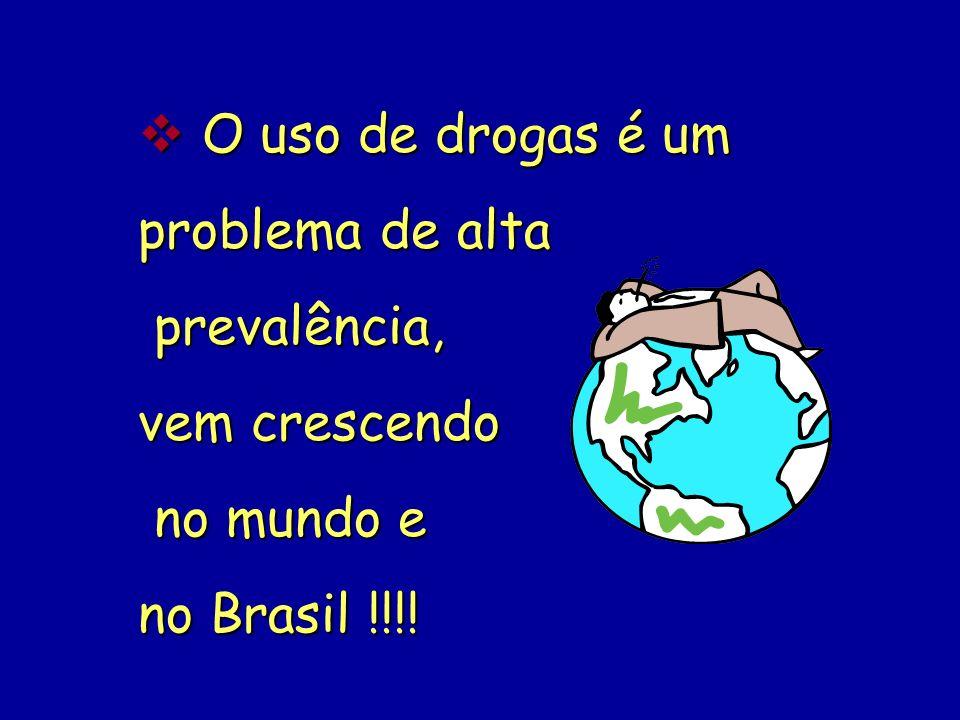 O uso de drogas é um problema de alta prevalência, vem crescendo no mundo e no Brasil !!!!