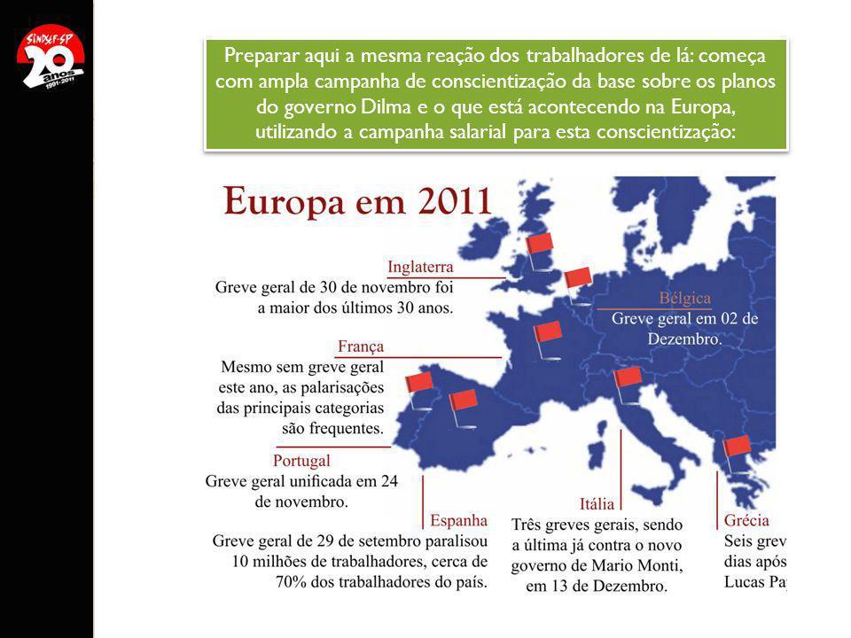 Preparar aqui a mesma reação dos trabalhadores de lá: começa com ampla campanha de conscientização da base sobre os planos do governo Dilma e o que está acontecendo na Europa, utilizando a campanha salarial para esta conscientização: