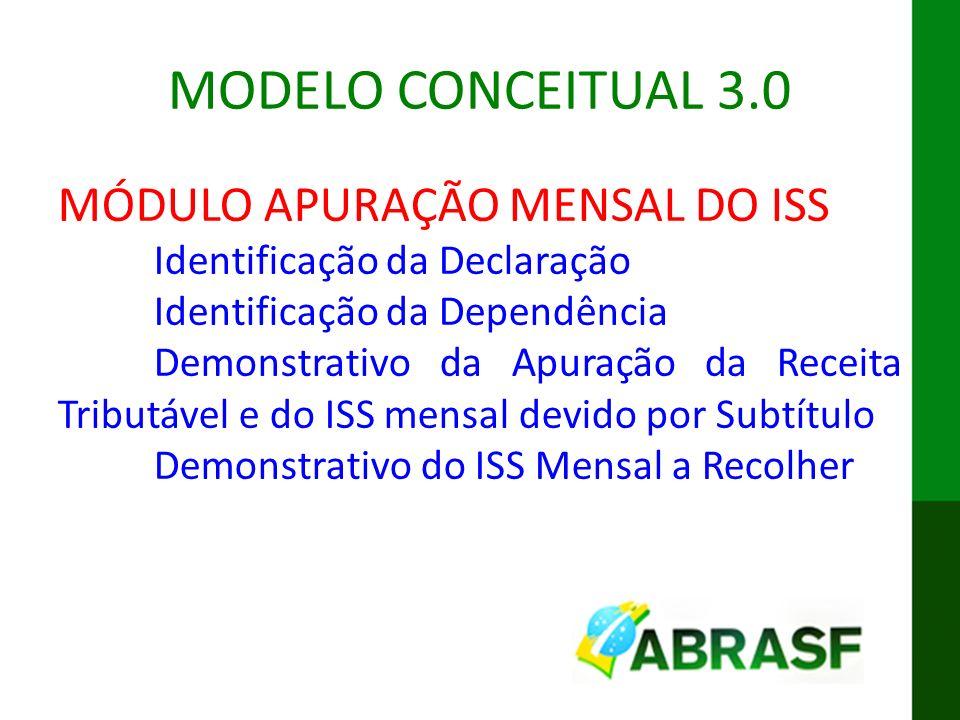 MODELO CONCEITUAL 3.0 MÓDULO APURAÇÃO MENSAL DO ISS