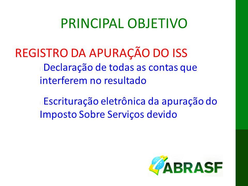 PRINCIPAL OBJETIVO REGISTRO DA APURAÇÃO DO ISS