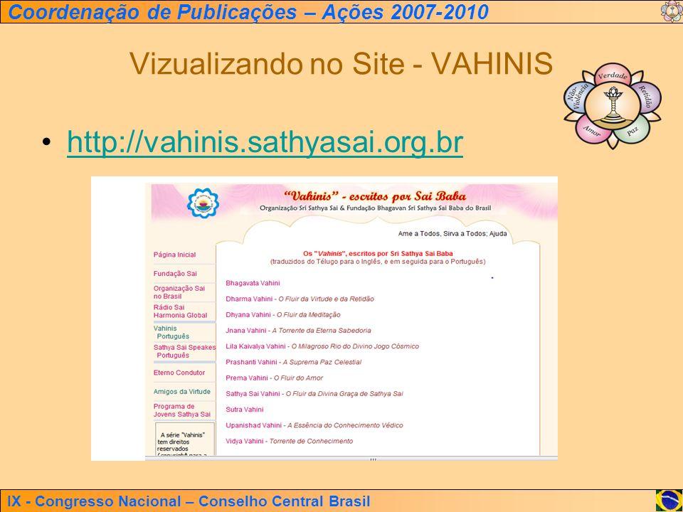 Vizualizando no Site - VAHINIS