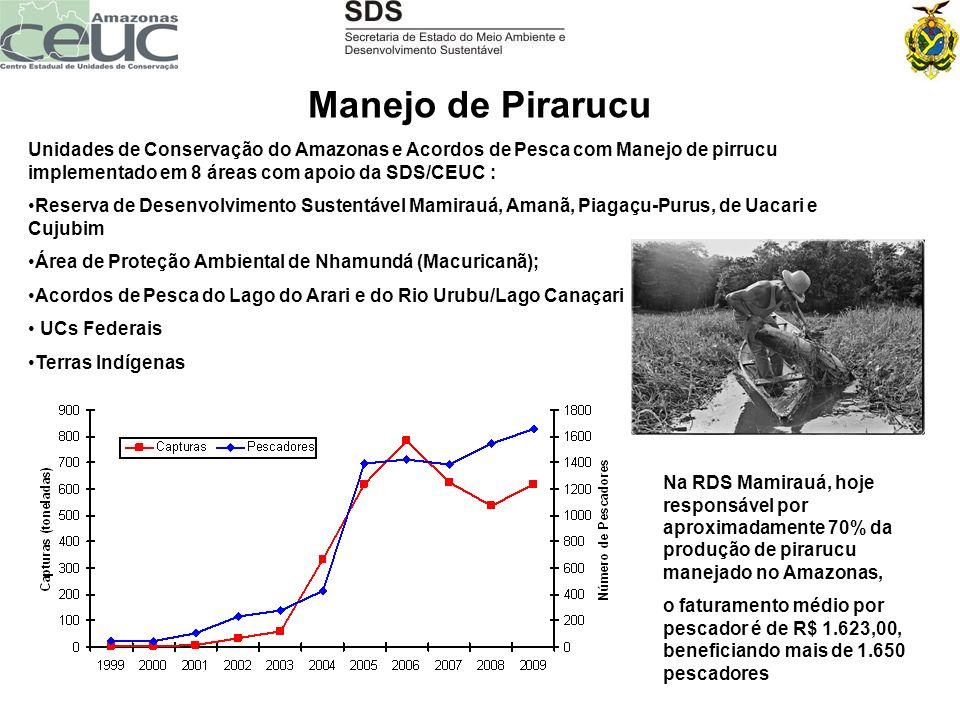 Manejo de Pirarucu Unidades de Conservação do Amazonas e Acordos de Pesca com Manejo de pirrucu implementado em 8 áreas com apoio da SDS/CEUC :