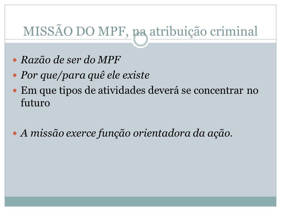 MISSÃO DO MPF, na atribuição criminal