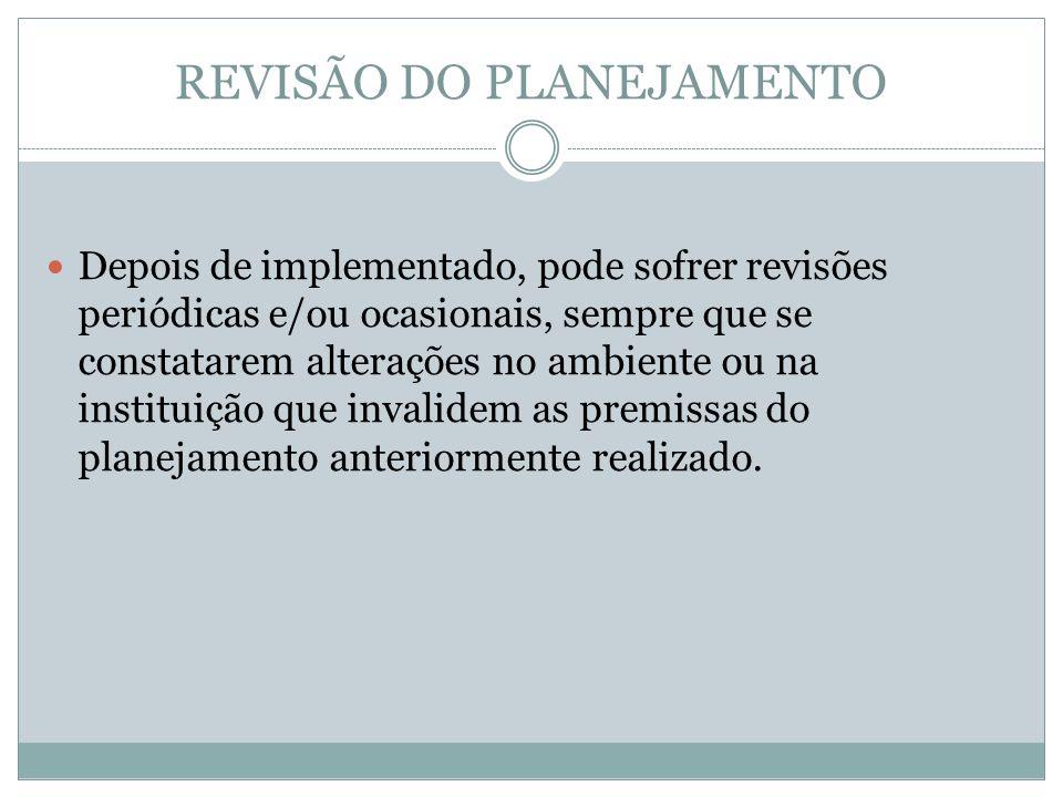 REVISÃO DO PLANEJAMENTO