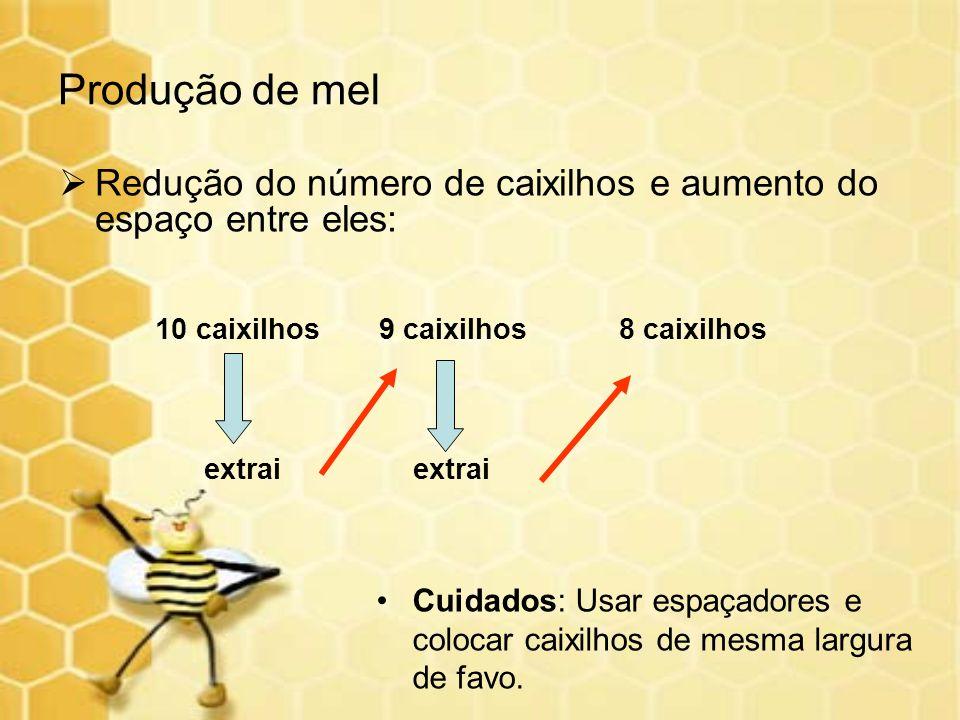 Produção de mel Redução do número de caixilhos e aumento do espaço entre eles: 10 caixilhos 9 caixilhos 8 caixilhos.