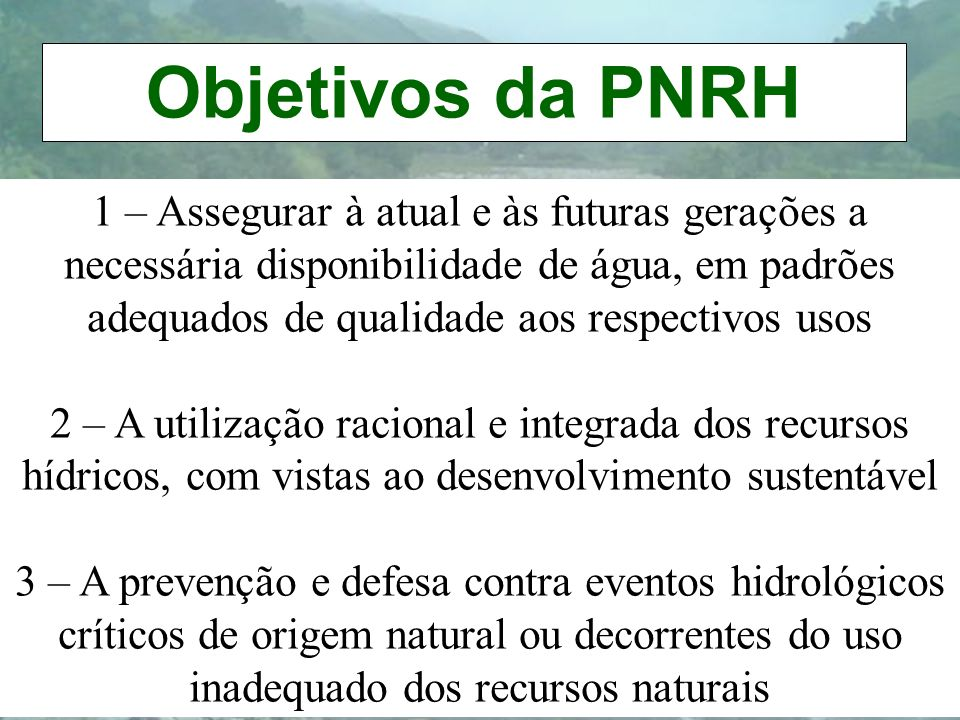 Objetivos da PNRH