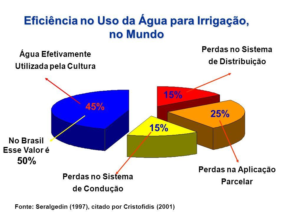Eficiência no Uso da Água para Irrigação, Utilizada pela Cultura