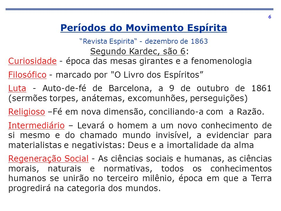 Períodos do Movimento Espírita
