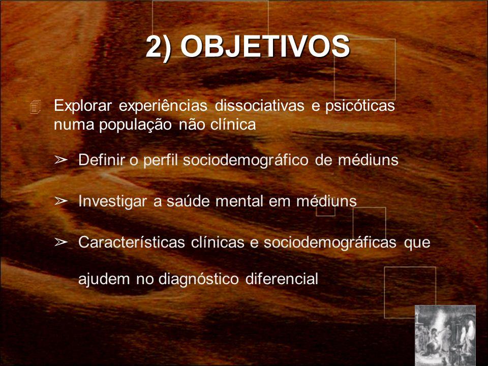 2) OBJETIVOS Explorar experiências dissociativas e psicóticas numa população não clínica. Definir o perfil sociodemográfico de médiuns.