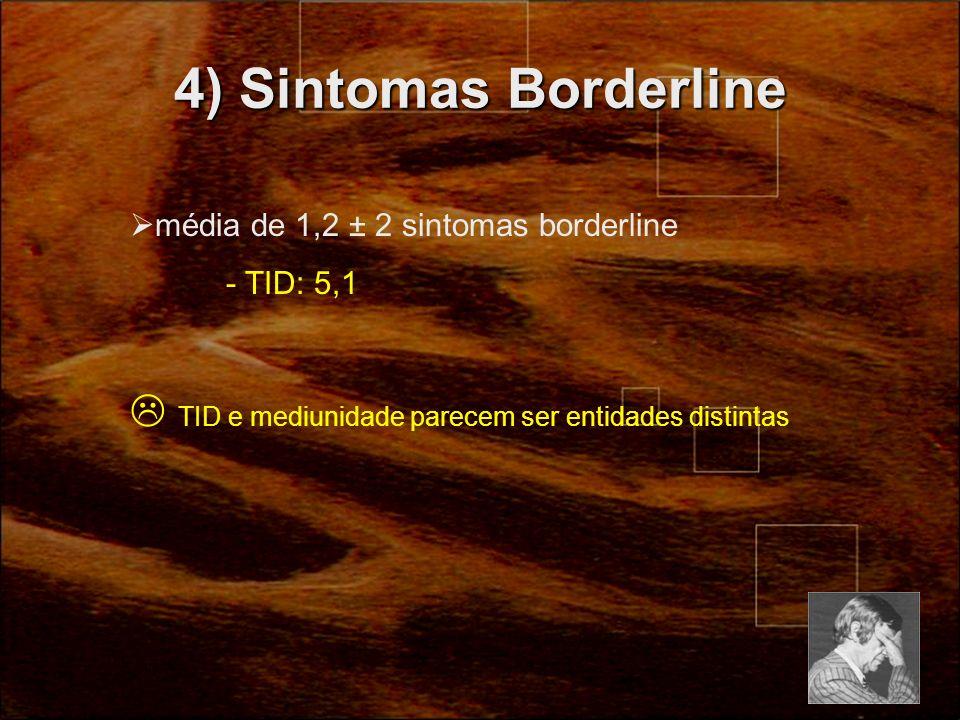 4) Sintomas Borderline média de 1,2 ± 2 sintomas borderline.