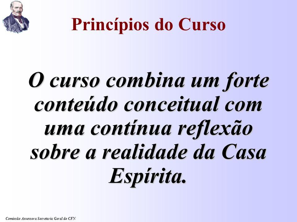 Princípios do Curso O curso combina um forte conteúdo conceitual com uma contínua reflexão sobre a realidade da Casa Espírita.