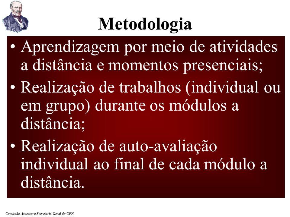Metodologia Aprendizagem por meio de atividades a distância e momentos presenciais;