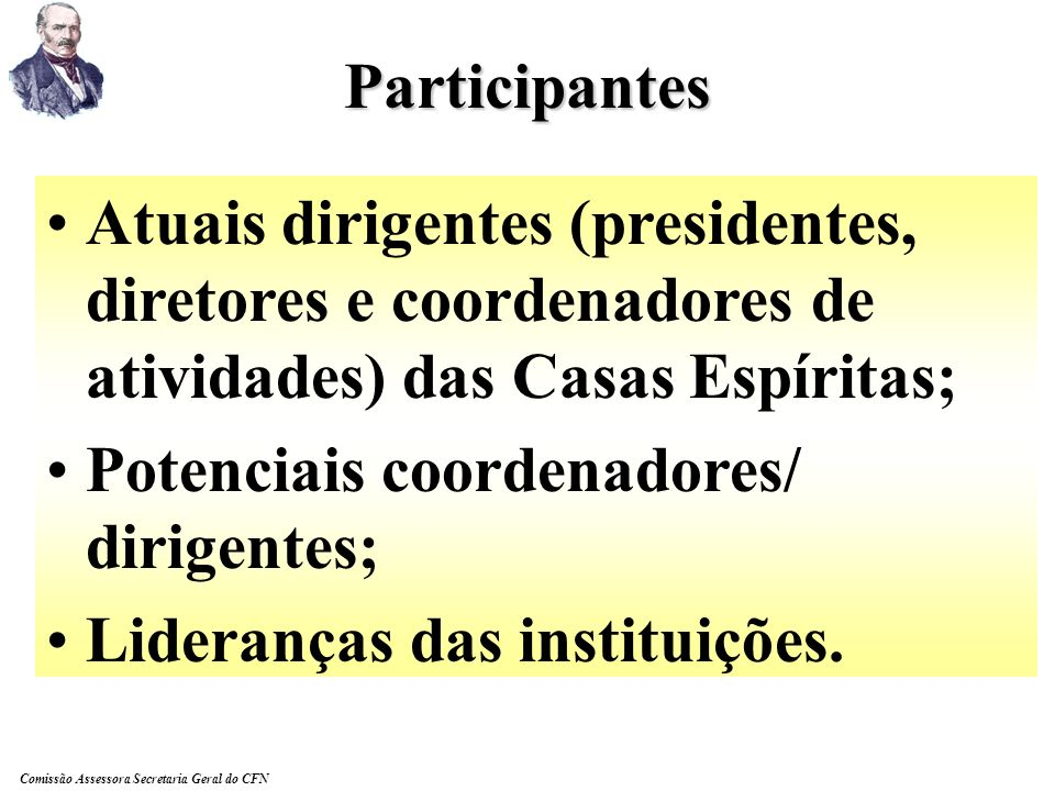 Participantes Atuais dirigentes (presidentes, diretores e coordenadores de atividades) das Casas Espíritas;