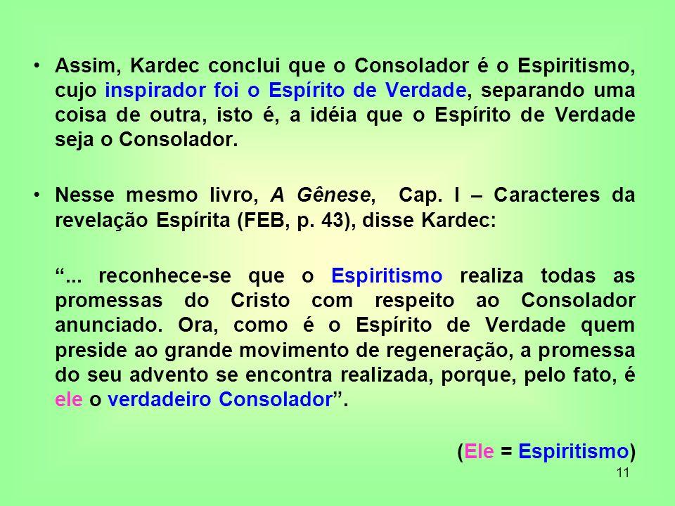Assim, Kardec conclui que o Consolador é o Espiritismo, cujo inspirador foi o Espírito de Verdade, separando uma coisa de outra, isto é, a idéia que o Espírito de Verdade seja o Consolador.