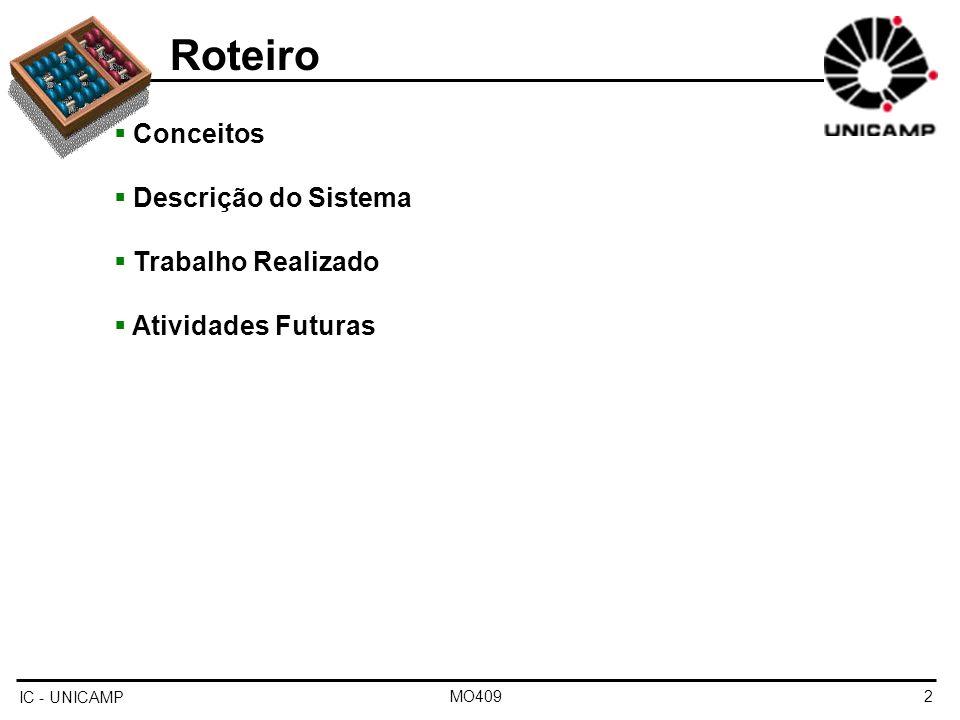 Roteiro Conceitos Descrição do Sistema Trabalho Realizado
