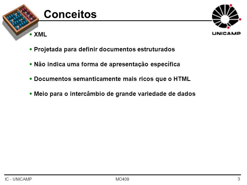 Conceitos XML Projetada para definir documentos estruturados