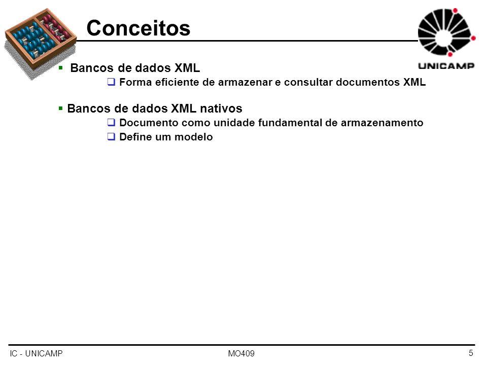 Conceitos Bancos de dados XML Bancos de dados XML nativos