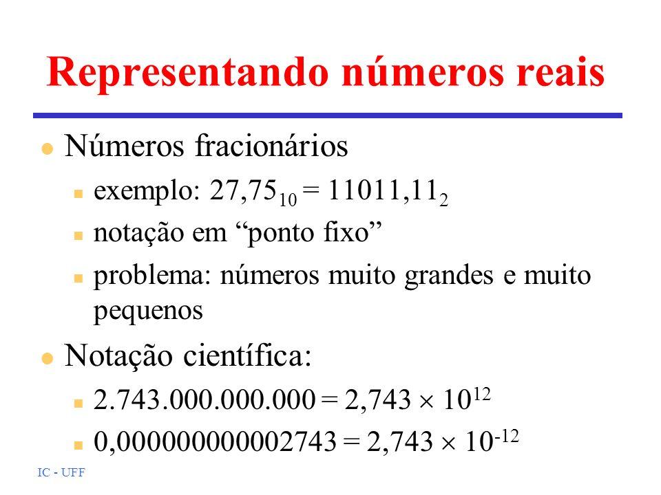 Representando números reais