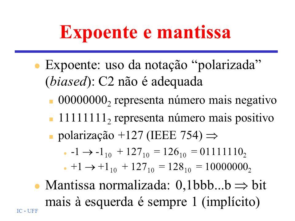 Expoente e mantissa Expoente: uso da notação polarizada (biased): C2 não é adequada. 000000002 representa número mais negativo.