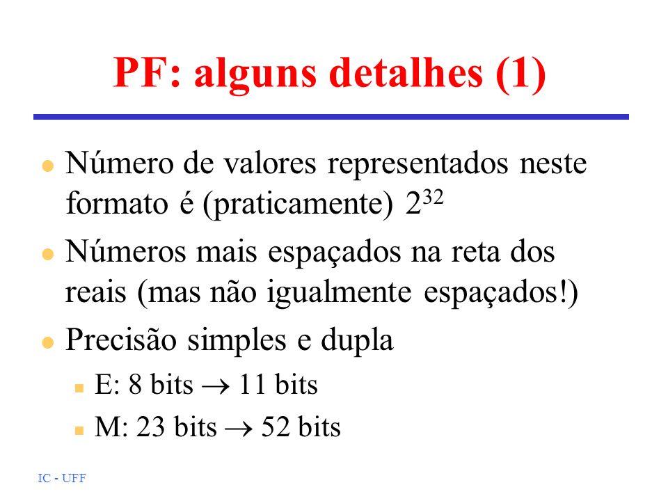 PF: alguns detalhes (1) Número de valores representados neste formato é (praticamente) 232.