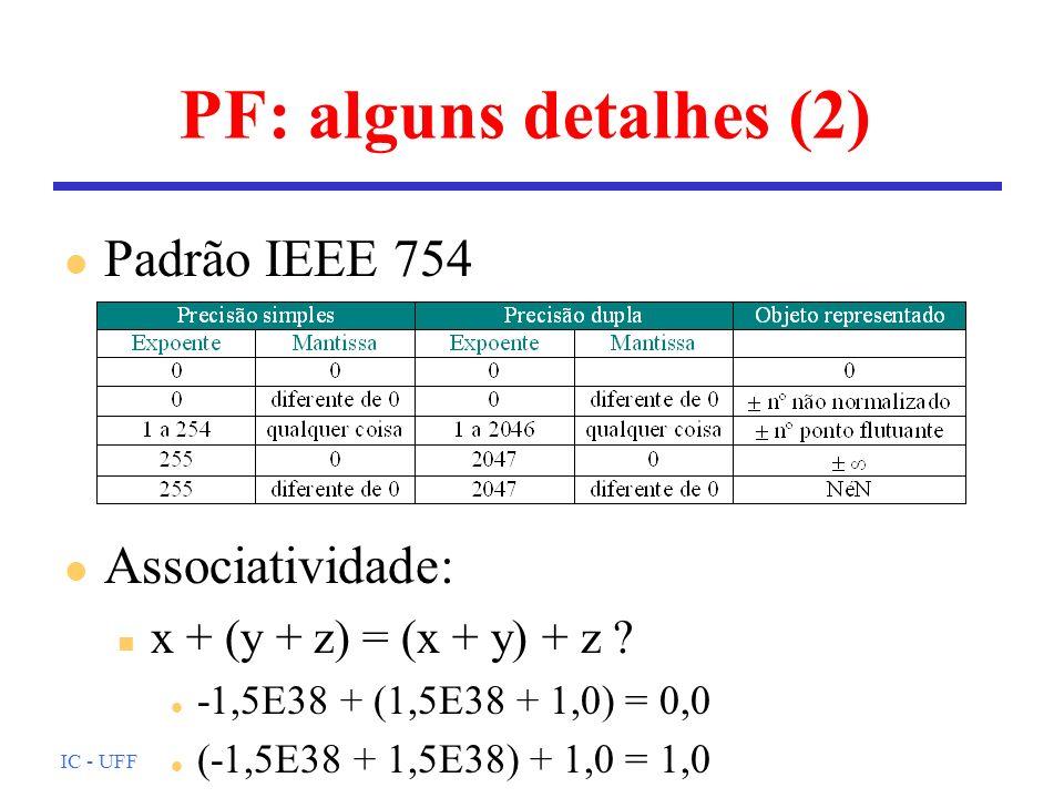 PF: alguns detalhes (2) Padrão IEEE 754 Associatividade: